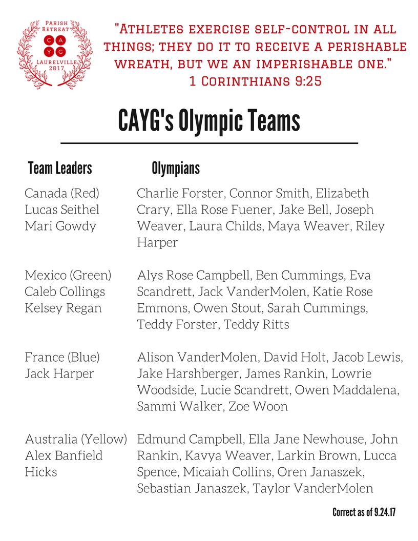 CAYG Olympic Teams for Parish Retreat as of 9 24 17 (1)
