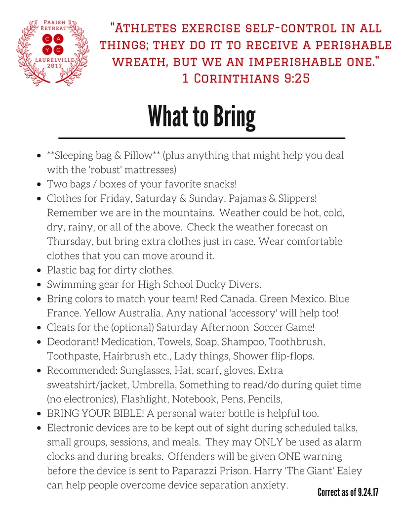 What to bring to our Olympic Parish Retreat - as of 9 24 17 (1)