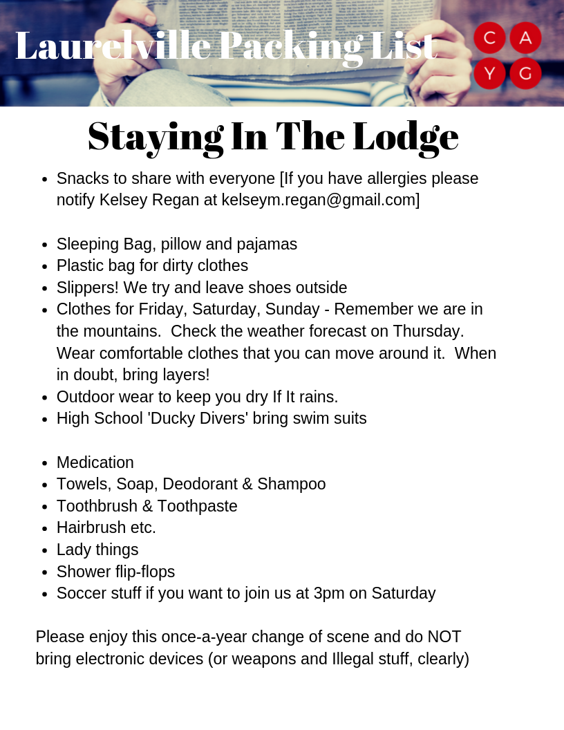 2019 Lodge Packing List 10 4